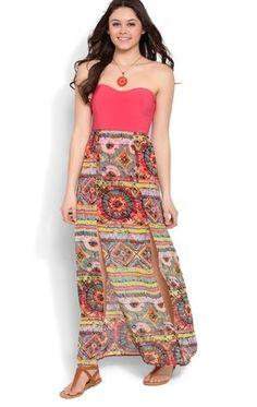 Deb Shops Strapless Maxi Dress with Double Slit Hem Tribal Print Skirt $24.50