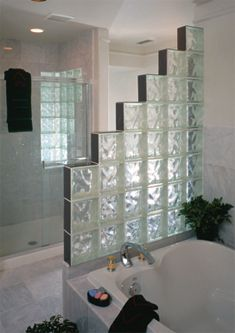 Stepped glass block wall.
