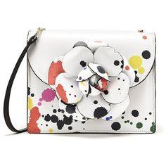 Oscar de la Renta Paint Splatter Leather Mini Tro Bag (7,785 PEN) ❤ liked on Polyvore featuring bags, handbags, mini handbags, genuine leather purse, white handbag, mini leather handbags and genuine leather handbags