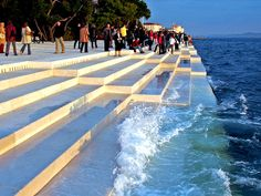 """Morske Orgulje"" and or ""The Sea Organ"" Nikola Basic. Located on the shores of Zadar, Croatia, is the world's first pipe organ which plays music by way of sea waves and 35 musically tuned polyethylene tubes located underneath a set of large marble steps--->2005"