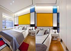 دکوراسیون اتاق خواب با نقاشی و بافتبعدی #4 - گروه طراحی ناتک (کلیه حقوق محفوظ است) Piet Mondrian, Mondrian Kunst, Arty Bedroom, Bedroom Red, Modern Bedroom, Double Bedroom, Feature Wall Bedroom, Bedroom Wall Colors, Futuristisches Design