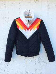 70s Puffy Ski Jacket Chevron Striped Black Red by HuntedFinds