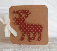 Christmas Cards Set of TEN Reindeer Red by CardinalBoutique, $17.50