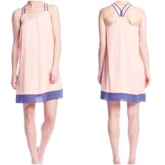 """Final Price unless bundled Color block dress Pretty pale coral sleeveless dress with contracts straps at band and gem in blue, pull- over style, fully lined, 70% silk hangs really nice...shoulder to hem:36.5"""" YA Los Angeles Dresses"""
