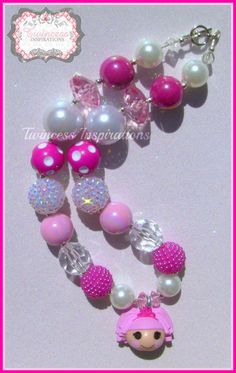 LalaLoopsy Jewel Sparkles Princess Chunky Beaded Bubblegum Necklace Pearls, Pink, White
