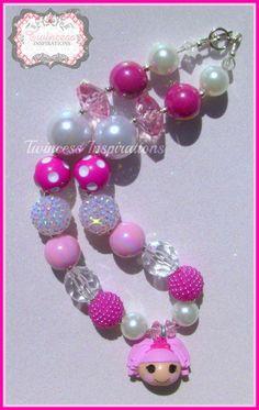 LalaLoopsy joya brilla princesa Bubblegum grueso collar perlas, rosado, blanco