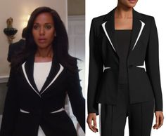 """Olivia Pope (Kerry Washington) wears this black and white colorblock blazer in this episode of Scandal, """"Watch Me"""". It is the Escada Contrast-Trim One-Button Blazer."""