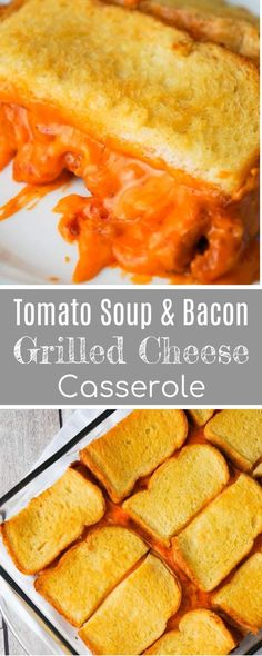 Tomato Soup & Bacon Grilled Cheese Casserole is an easy lunch or dinner recipe the whole family will love. This easy casserole is loaded with shredded cheddar cheese, real bacon bits and condensed tomato soup, all sandwiched between two layers of bread.