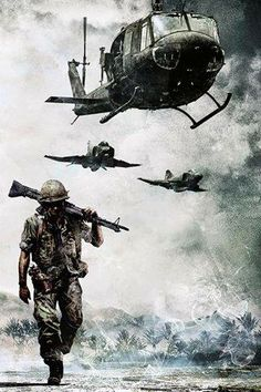 Painting of Infantry Soldier and air support