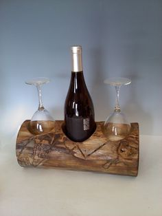 Rustic Natural Wine and glass rack. $42.00, via Etsy.com AspenBottleHolders. Fun housewarming gift!