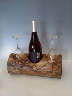 Rustic Natural Wine and glass rack. $42.00, via Etsy.com AspenBottleHolders. Fun housewarming gift!