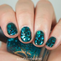A Night in the Asylum is a turquoise jelly polish with a blend of holographic glitters and large holographic dots that are sure to make a scream! Pink Gel Nails, Glitter Manicure, Glitter Nail Polish, Glitter Gel, Gel Manicure, Nail Polish Colors, Nail Polishes, Manicures, Acrylic Nails