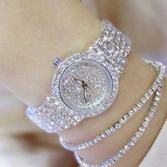 Gold Diamond Watches, Gold Watches Women, Fashion Jewelry, Women Jewelry, Silver Rhinestone, Crystal Bracelets, Watch Women, Wrist Watches, Rose Gold