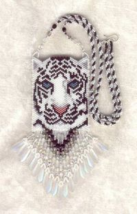 white tiger peers at you with stunning aqua eyes. Beading Patterns Free, Bead Loom Patterns, Weaving Patterns, Free Seed Bead Patterns, Beading Projects, Beading Tutorials, Beaded Necklace Patterns, Bracelet Patterns, Crochet Necklace