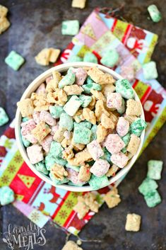 Put a bowl of Holiday Muddy Buddies Chex Mix Recipe out at your next holiday gathering, and watch it put a smile on every mouth it goes into. Chex Mix Recipes, New Recipes, Cooking Recipes, Favorite Recipes, Easy Recipes, Holiday Snacks, Christmas Desserts, Holiday Recipes, Christmas Treats