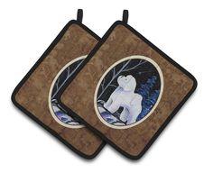 Starry Night Bichon Frise Pair of Pot Holders SS8397PTHD