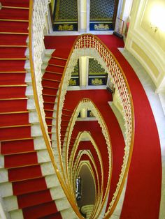 The Grand Staircase inside Bristol Palace Hotel of Genoa, Liguria (Italy)  from the Top.