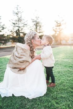 The most adorable moment with the bride & her son! http://www.stylemepretty.com/california-weddings/2016/01/21/an-event-coordinators-dreamy-organic-romantic-backyard-wedding/ | Photography: Daphne Mae - http://www.daphnemaephotography.com/: