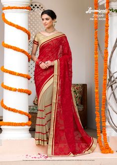 Buy this Magnificent Red #Embroidered #Georgette #Party_Wear #Stone_Work #Saree and Golden Rawsilk Blouse along with Rawsilk Lace Border for your special occasion.  #Catalogue- #Zainab #DesignNumber- #Zainab 94 #Price - ₹ 3492.00  #Bridal #ReadyToWear #Wedding #Apparel #Art #Autumn #Black #Border #MakeInIndia #CasualSarees #Clothing #ColoursOfIndia #Couture #Designersarees #Dress #Dubaifashion #Ecommerce #EpicLove #Ethnic #Ethnicwear Fancy Sarees, Party Wear Sarees, Indian Clothes, Indian Outfits, Lehenga Saree, Dubai Fashion, Lace Border, Stone Work, Saree Collection