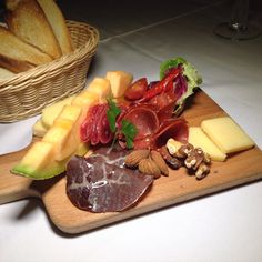 Cold cuts & #cheese plate with #fruit & #nuts