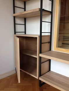 Metal and solid wood (oak) library, made by KEDAR FURNITURE company from Novi Sad, Serbia.