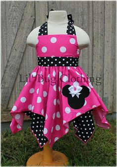Hot Pink Minnie Mouse Handkerchief Dress Minnie by LilBugsClothing African Dresses For Kids, Dresses Kids Girl, Toddler Girl Outfits, Toddler Fashion, Kids Outfits, Kids Fashion, Minnie Mouse Party, Pink Minnie, Bug Clothing