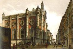 The Leopoldstadter Tempel, what was the largest synagogue in Vienna between 1858 and 1938 was destroyed during Kristallnacht. The painting by Rudolf Von Alt, can be seen at the Vienna Museum. Jewish Synagogue, Jewish Temple, Synagogue Architecture, Art And Architecture, Rudolf Von Alt, Vienna Museum, Art Database, Place Of Worship, Great Artists