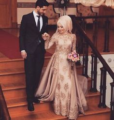 Brown Muslim Wedding Dress With Embroidery Details Hijab Dress Party, Muslim Wedding Dresses, Muslim Brides, Muslim Dress, Elegant Wedding Dress, Muslim Couples, Bridal Dresses, Dress Wedding, Bridal Gown