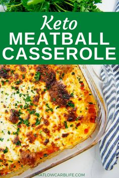 Our Keto Meatball Casserole is made with homemade meatballs or storebought frozen meatballs, is the ultimate comfort food dinner! Saucy, cheesy, and easy to throw together. This is one of those family favorite dinners we make again and again. Keto Veggie Recipes, Diabetic Recipes, Lunch Recipes, Easy Dinner Recipes, Low Carb Recipes, Beef Recipes, Healthy Recipes, Meatball Casserole, Keto Casserole