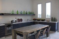 Italian green demijohn vases kitchen shelf ; Gardenista