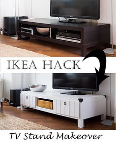 Furniture project Ikea Lack TV table makeover hack.  http://www.songbirdblog.com