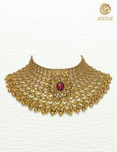 Gold textured choker with floral medallion #Goldjewellery #luxury #style