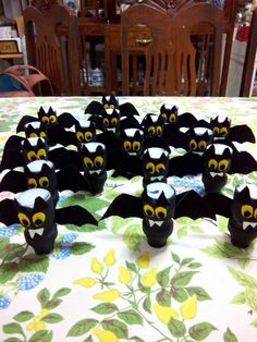 Happy Halloween! Bats made out of yakult bottles! :)