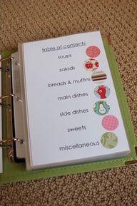 Cute way to organize recipe book