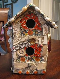 Canary Cottage mosaic art birdhouse.... Thinking about a mosaic fairy house.