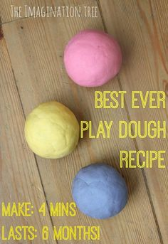 no-cook play dough recipe- The Imagination Tree 2 cups plain flour (all purpose) 2 tablespoons vegetable oil 1/2 cup salt 2 tablespoons cream of tartar Up to 1.5 cups boiling water (adding in increments until it feels just right) food colouring (optional)
