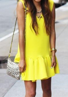 Summer yellow drop waist dress