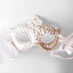 Antique White Masquerade Mask With Swirls Venetian by SOFFITTA