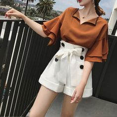Jungle me 2017 Fashion Ruffles Chiffon Blouse Sexy V neck Flare Sleeve Shirts Tops Women Chic All-Purpose Blouse Japanese Trendy Ruffle Outfit Ideas to Look Stylish Kpop Fashion Outfits, Korean Outfits, Hijab Fashion, Fashion Dresses, Classy Outfits, Stylish Outfits, Cute Outfits, Blouse Sexy, Hijab Stile