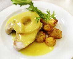 Denné menu Vranov   Kuracie karí s grilovaným ananásom a smotanou, opekané zemiaky - reštaurácia Hotel Patriot*** #hotel #restauracia #dennemenu