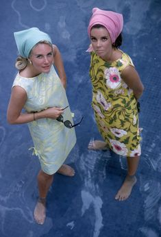 Wendy Vanderbilt (right) and another woman wearing Lilly Pulitzer dresses in Palm Beach. Photographed by Slim Aarons in January of 1964