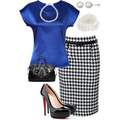 """Working Houndstooth with blue"" by lisa-eurica on Polyvore"