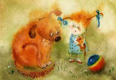 Victoria Kirdiy:  Girl with dog and ball