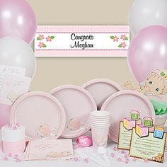 Precious Moments Baby Shower Party Ware And Decorations For Girls.