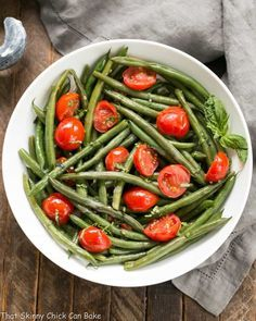 Haricot Verts with Grape Tomatoes   An easy, delicious green bean recipe! #greenbeans #sidedish #tomatoes