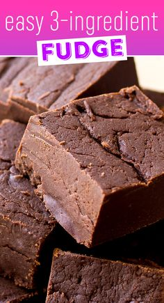 Easy 3 Ingredient Fudge Recipe - Make this easy fudge by warming just a few simple ingredients in the microwave. Quick Fudge Recipe, 3 Ingredient Fudge Recipe, Delicious Fudge Recipe, 3 Ingredient Desserts, Homemade Fudge Easy, Coconut Fudge Recipe, Three Ingredient Recipes, Recipe Recipe, Homemade Food