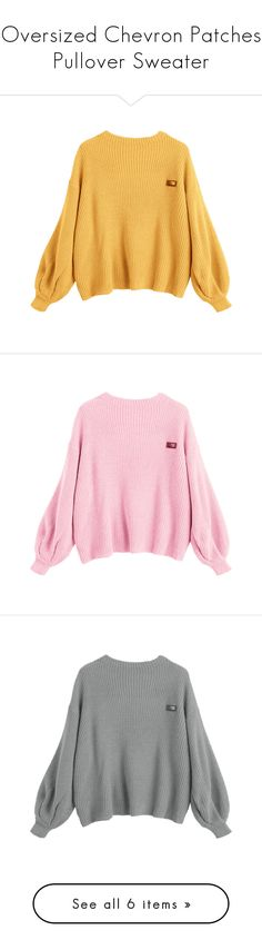 """""""Oversized Chevron Patches Pullover Sweater"""" by zaful ❤ liked on Polyvore featuring tops, sweaters, oversized pullover sweater, oversized pullover, yellow top, pullover top, oversized sweaters, patch sweater, pink oversized sweater and over sized sweaters"""