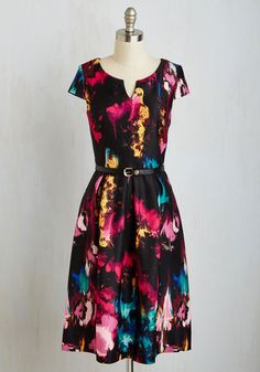 Masterpiece of the Action Dress - Multi, Black, Print, Belted, Party, Statement, A-line, Cap Sleeves, Better, V Neck, Long, Knit