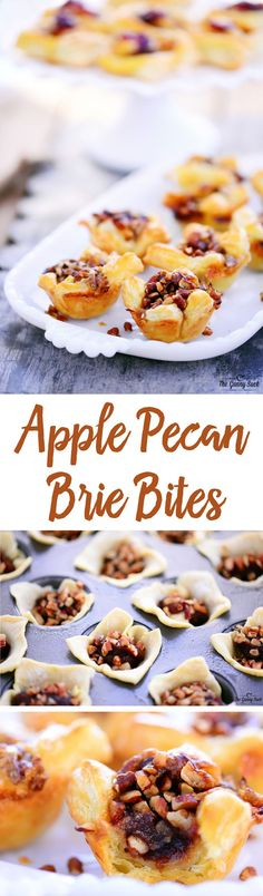 This yummy Apple Pecan Brie Bites recipe is an easy holiday appetizer that everyone will love. The melted brie with apple butter and pecans in a flaky puff is amazing! #sponsored