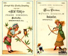 Vintage Christmas Greetings: This century Christmas and New Year's card was given out by Frank Simmons a prominent bookseller here in Springfield, IL at the time.